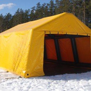Dzeltena piepūšamā karkasa telts